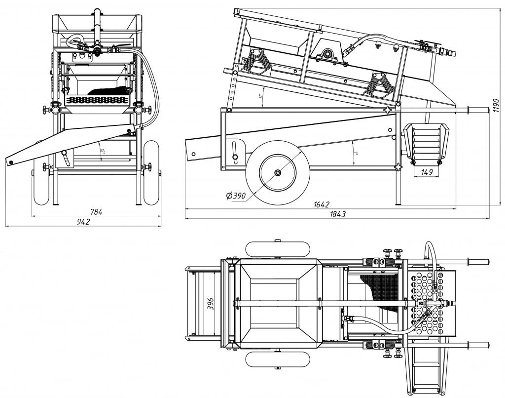 Мобильный грохот ГИ-0.3 чертеж